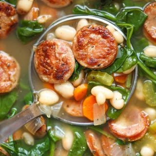 Slow Cooker Sausage, Spinach and White Bean Soup.