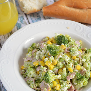 Broccoli, Feta Cheese And Ham Salad