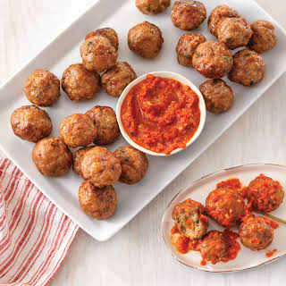 Stuffed Pork Meatballs with Romesco.