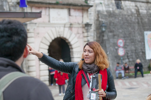 A tour guide for Viking leads her group on a two-hour tour of Old Kotor in Montenegro.