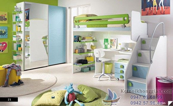 thiết kế phòng ngủ cho bé thông thoáng