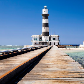 Deadalus Lighthouse - Egypt by Andy Cain - Buildings & Architecture Other Exteriors ( lightouse, deadalus, pier, tracks, egypt, island )