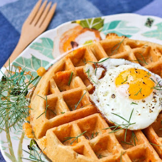 10 Grain Savory Waffles with Cheddar, Dill and Ham Recipe