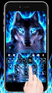 Cool Neon Wolf Keyboard - náhled