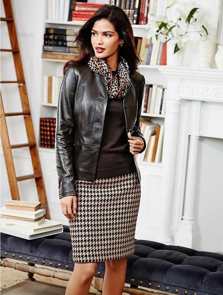 office casual scarf with leather jacket