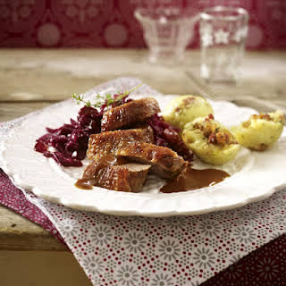 Roast Goose with Bacon Dumplings and Red Cabbage.