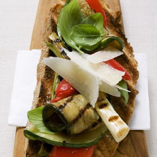 Flatbread with Grilled Vegetables and Herb Dressing Recipe