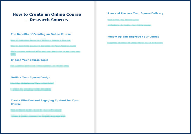 Create an Online Course - Research Sources