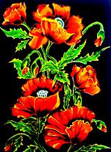 Photo: 104, Нетронина Наталья, Маки на черном фоне , Витражные краски, контуры, фольгированный картон (витражные картины), 35х28см,