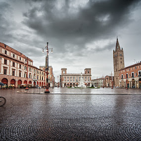 Forlì - Piazza Saffi by Enrico Mosca - Buildings & Architecture Public & Historical ( sky, rainy, town, reflection, city, hdr, forlì, weather, clouds, travel, italy )