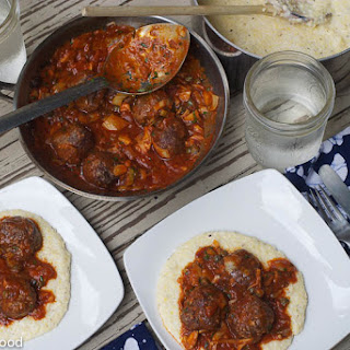 Sage Sausage Meatballs, Puttanesca, Creamy Polenta