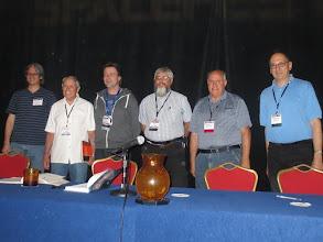 Photo: Comet Panel!  Hergenroether, astronaut Ed Gibson, comet tweeter Nick Howes, Kitt Peak Spacewatch's Jim Scotti, Hale-Bopper Tom Bopp, & industrial-strength Cometeer David Levy!
