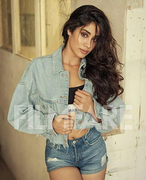 Janhvi Kapoor filmfare photoshoot, Janhvi Kapoor in denim shorts, Janhvi Kapoor in denim, Janhvi Kapoor hot