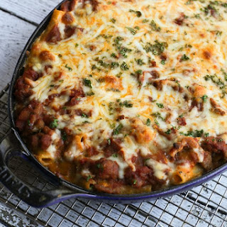 Baked Ziti Recipe With Ground Beef and Italian Sausage.