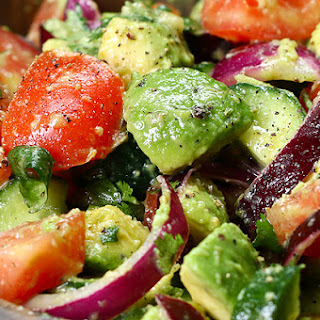 2. Cucumber, Tomato, and Avocado Salad