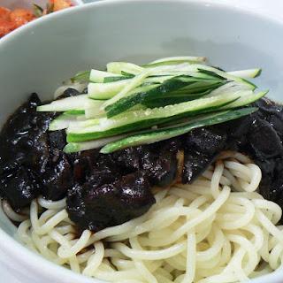 Korean Noodles with Black Bean Sauce (Jajangmyun).