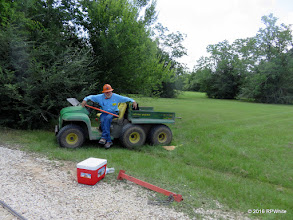 Photo: George Leventon, resting while we go by.  Was shovelling ballast. 12:09 PM    HALS Public Run Day  2016-0716  RPWhite