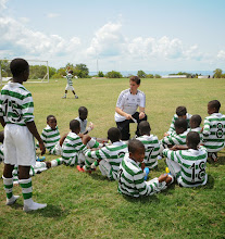 Photo: Coach McKinstry with elite young players at the Craig Bellamy Academy (Photo: Samantha Bohall).
