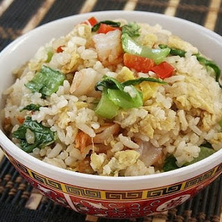 Fried Rice with Asian Mustard Green (Gai Choy) and Shrimps
