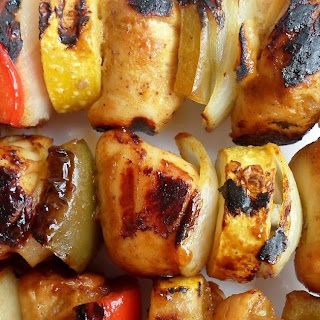Grilled Chicken Kabobs with Mustard, Brown Sugar and Allspice-George Foreman or Outdoor Grill