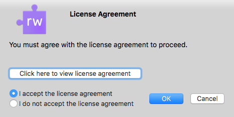 Licence agreement window