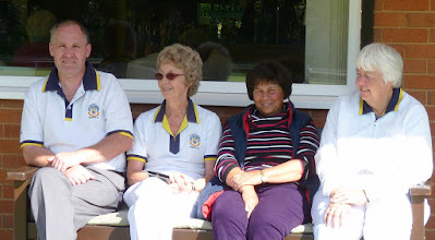 Photo: Adrian Philpott awaiting the Club Championship Final with Ladies Captain elect Avril Williams, current Ladies Captain Val King and Ladies Vice-Captain elect Chris Bruce.