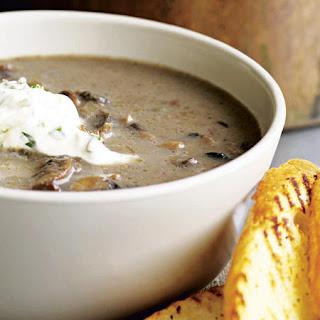 Mushroom Soup with Herbed Crème Fraîche.