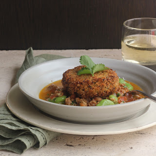 Spicy Salt Cod Cakes With Chorizo And Stewed Fava Beans.