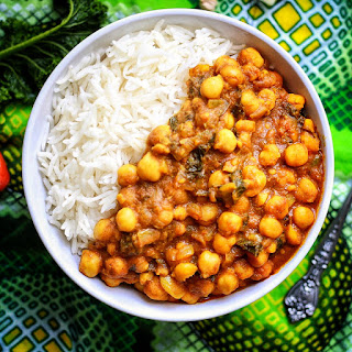 Spicy Caribbean Chickpea Curry with rice.