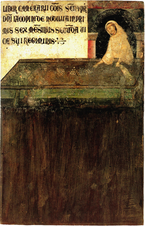 Guido di Graziano, tavoletta di Biccherna, Don Bartolomeo, Monaco di San Galgano, Camarlingo (1276), inv. 7, Siena, Archivio di Stato