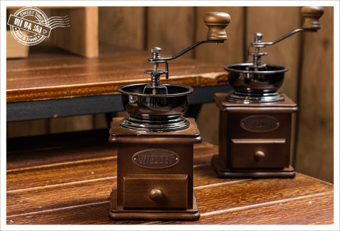 復古實木手搖咖啡磨豆機