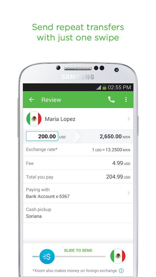 Xoom Money Transfer - screenshot
