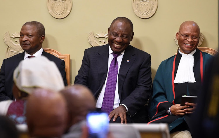 President Cyril Ramaphosa flanked by Deputy President David Mabuza and Chief Justice Mogoeng Mogoeng. Picture: GCIS