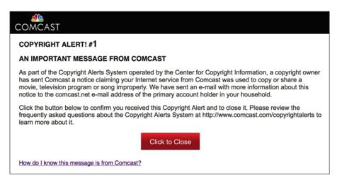 Torrenting copyright alert