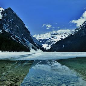 Frozen Lake Louise by Chris Bertenshaw - Landscapes Mountains & Hills ( lake louise, reflection, ice,  )