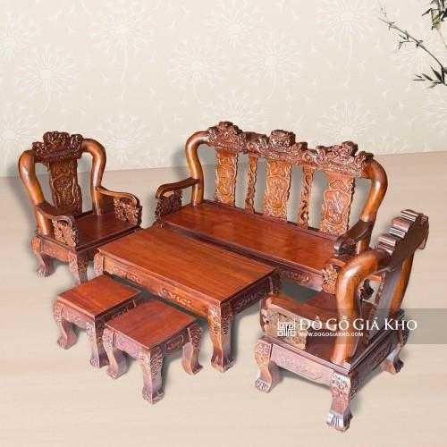 Bàn ghế gỗ tràm tay 12 chạm nghề - BG 039