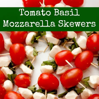 Tomato Basil Mozzarella Skewers.
