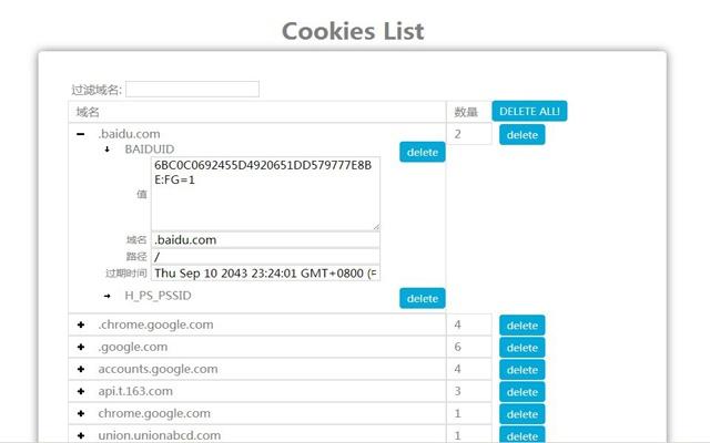 Cookies List