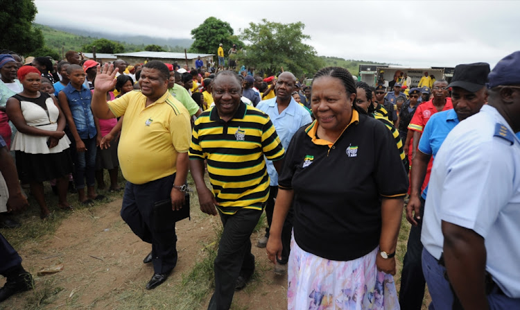 ANC deputy president Cyril Ramaphosa and Naledi Pandor during his walkabout in Jeppe's Reef on January 8, 2014 in Nelspruit.