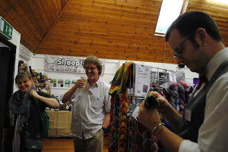 Photo: Lovely to meet Mel again too! And here Phil has escaped their stand for a bit coming to say hello to the Easyknitter.