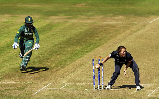 South Africa's Trisha Chetty is run out  in the Women's Cricket World Cup match against England in  Bristol yesterday. England women won by 63 runs.