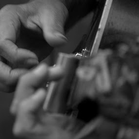 Slide Guitar by David Clare - People Musicians & Entertainers ( playing, black and white, live music, musician, guitar, entertainer,  )