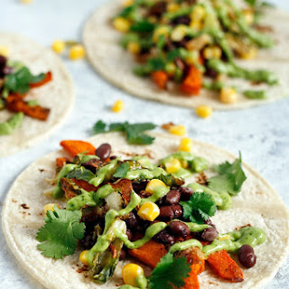 Sweet Potato Tacos with Creamy Avocado Sauce & Crispy Brussels Sprouts.