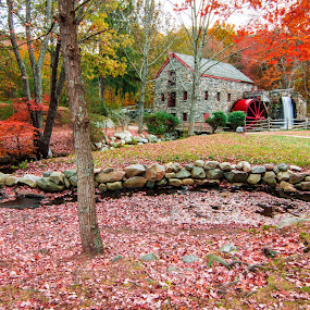 Grist Mill Two by Matthew Robertson - City,  Street & Park  Historic Districts ( new england, autumn, fall, waterfall, old grist mill, trees, stone wall, leaves, historic, river )