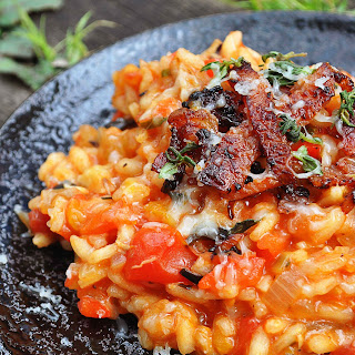 Roasted Bell Peppers and Bacon Risotto