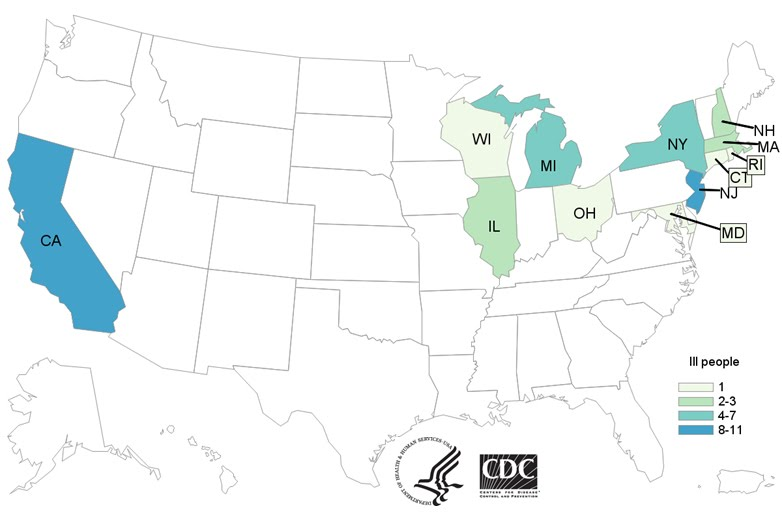 People infected with the outbreak strain of E. coli O157:H7, by state of residence, as of November 26, 2018 (n=43) ( source: CDC Website )