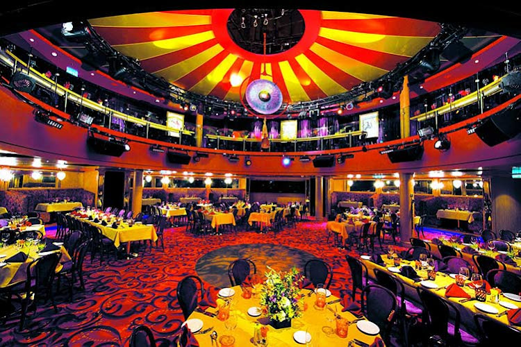 Inside the Spiegel Tent on Norwegian Epic where Cirque Dreams unfolds.