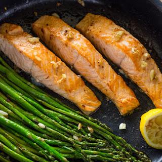 One Pan Lemon Garlic Salmon and Asparagus