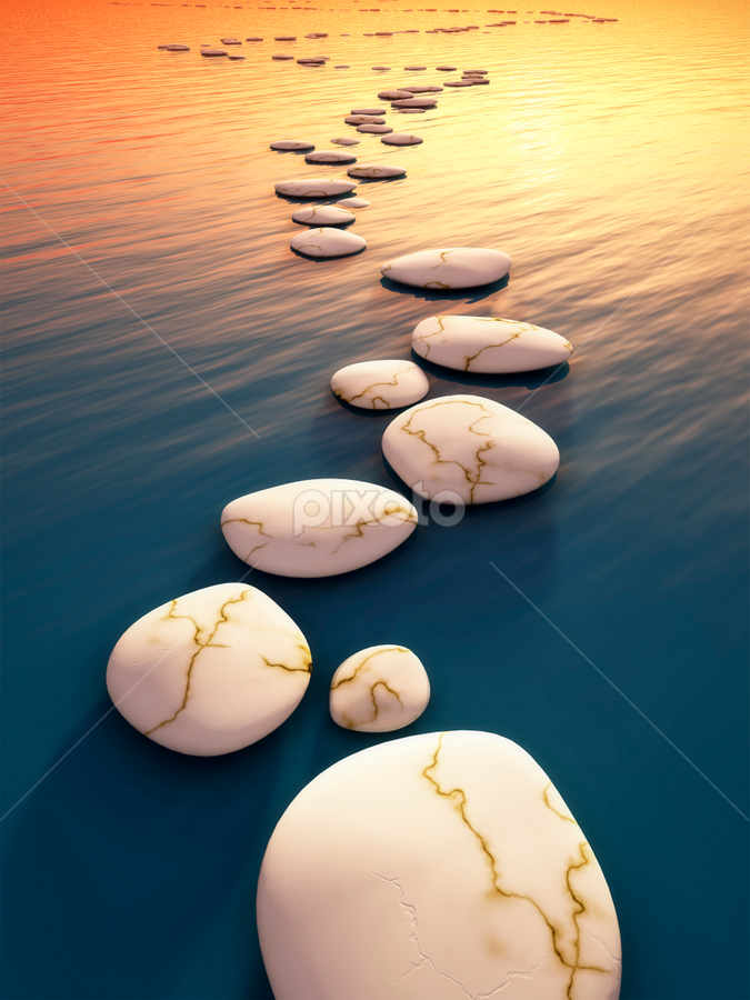 step stones sunset by Markus Gann - Illustration Places ( stone, rock, travel, yellow, nature, power, perspective, light, shiny, signs, white, japanese, steps, solid, liquid, staff favorites, outdoors, scene, bridge, golden, straight, calm, pebble, reflection, smooth, line, way, landscape, risk, clear, tranquil, buddhism, clean, grey, harmony, gold, abstract, water, ideas, sea, traditional, relaxation, red, blue, sunset, background, zen, summer, bow, success, energy )