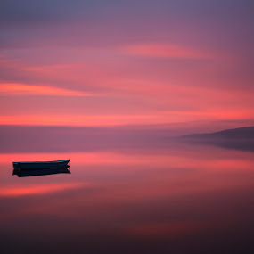 The colourful night ... by Joanna Maciszka - Landscapes Waterscapes ( fog, sunset, lake, boat )